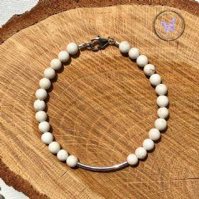 Magnesite Silver Tube Bracelet